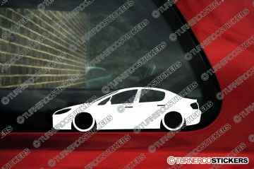 2x Lowered car outline stickers - Peugeot 407 sedan